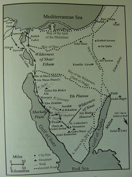 ExodusRouteMapsVarious - Map of egypt during exodus